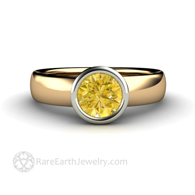 Yellow Sapphire Solitaire Engagement Ring Bezel - Rare Earth Jewelry