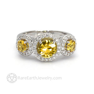 Yellow Sapphire Ring Engagement 3 Stone Diamond Halo - Rare Earth Jewelry