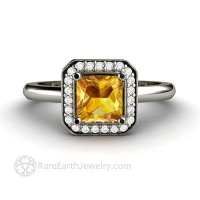 Yellow Sapphire Ring Princess Cut Engagement with Diamond Halo - Rare Earth Jewelry