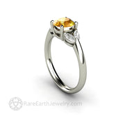 Round Cut Yellow Sapphire Ring with Marquise Diamond Side Stones - Rare Earth Jewelry