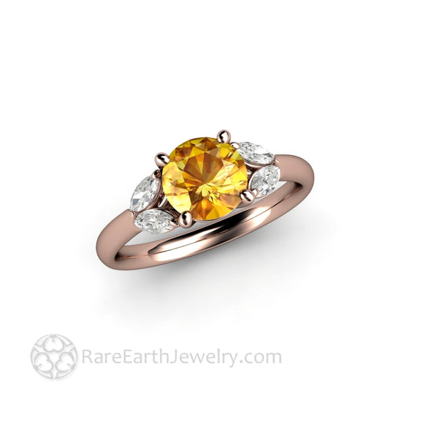 Rose Gold Yellow Sapphire Diamond Ring - Rare Earth Jewelry