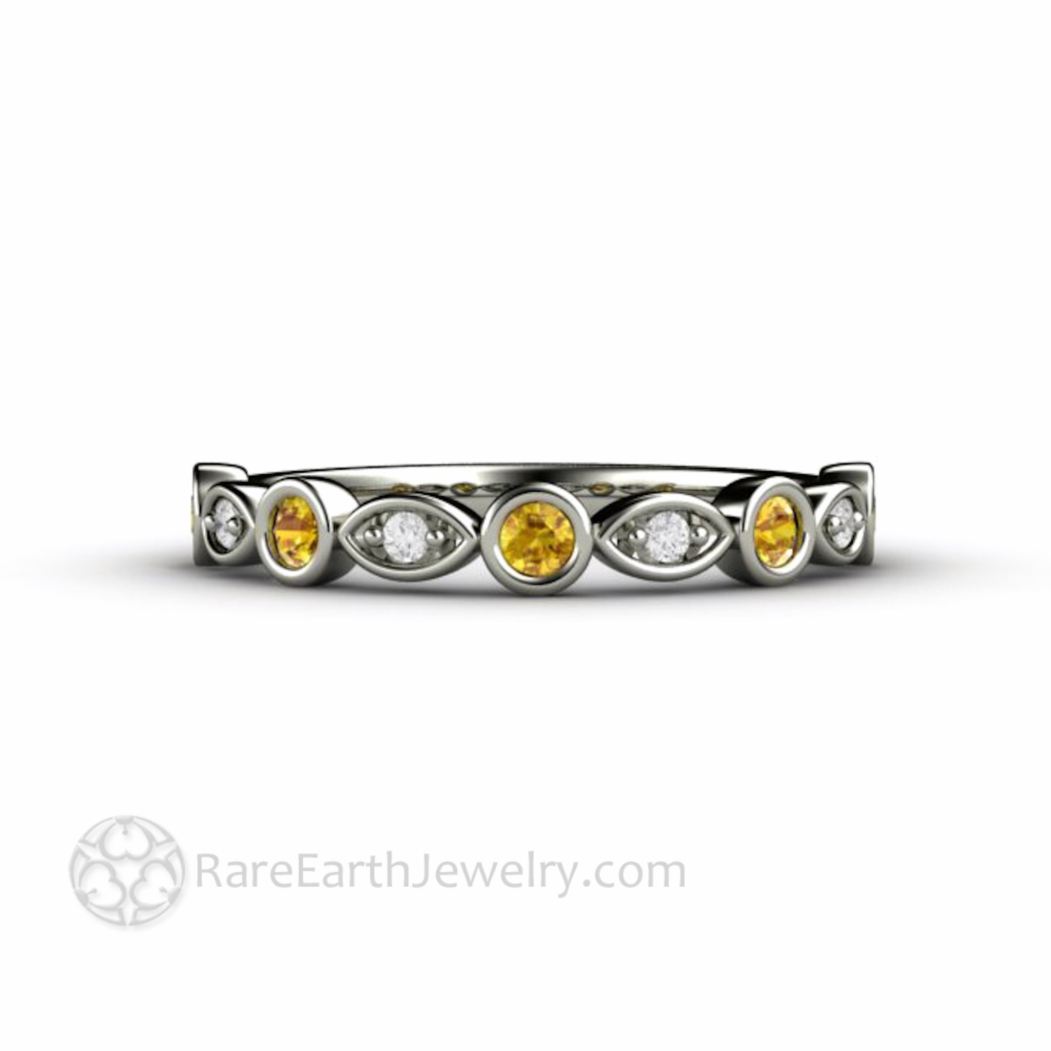 925a0ba2fc478 Yellow Sapphire Ring with Diamonds Wedding Band or Stacking Ring