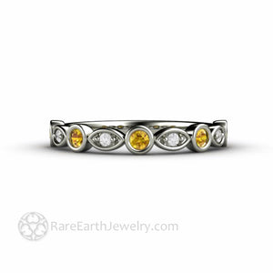 Yellow Sapphire and Diamond Ring White Gold Bezel Scalloped Band - Rare Earth Jewelry