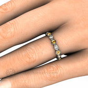 Yellow Sapphire Wedding Ring on Finger Bezel Set Round Cut Natural Gemstones with Diamonds - Rare Earth Jewelry