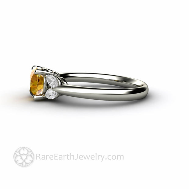 Marquise Diamond and Yellow Sapphire Right Hand Ring - Rare Earth Jewelry