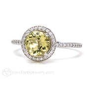 Rare Earth Jewelry Lemon Citrine Ring Diamond Halo 14K Gold