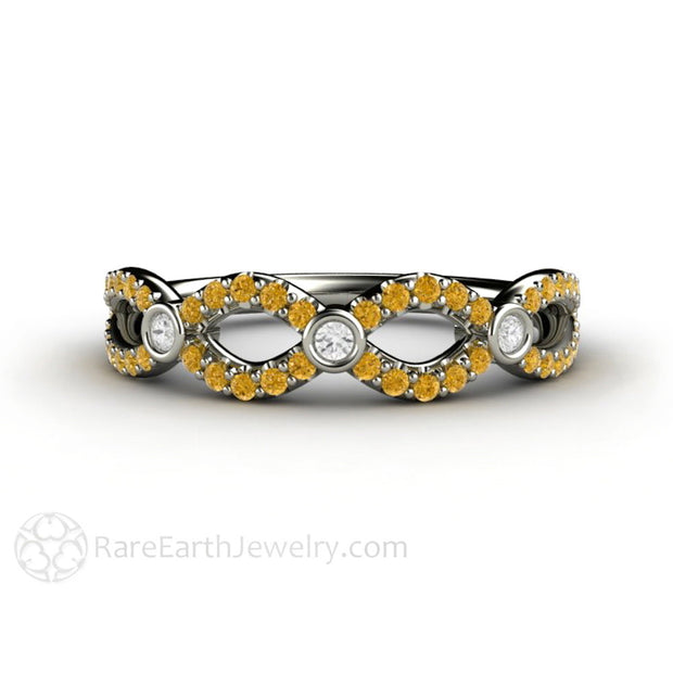 Yellow Diamond Stacking Band April Birthstone Ring 14K White Gold Rare Earth Jewelry