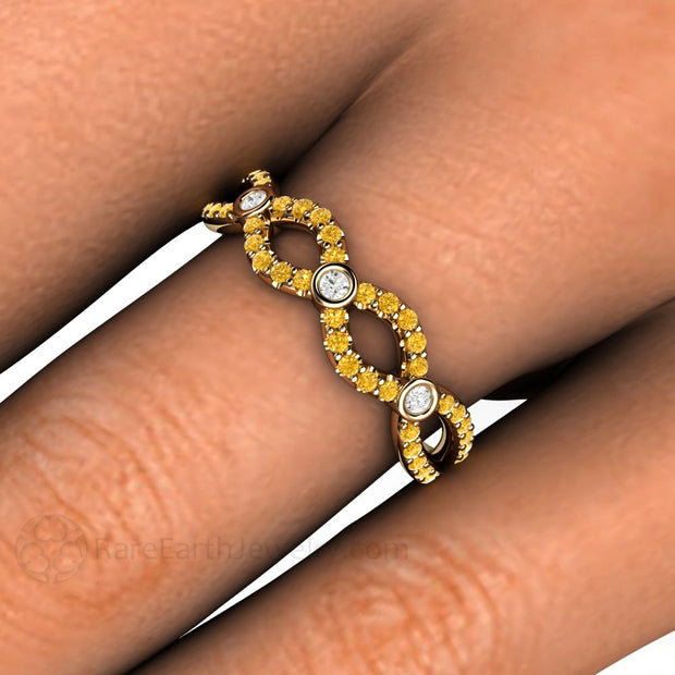White and Yellow Diamond Infinity Ring 14K Gold on Finger Rare Earth Jewelry