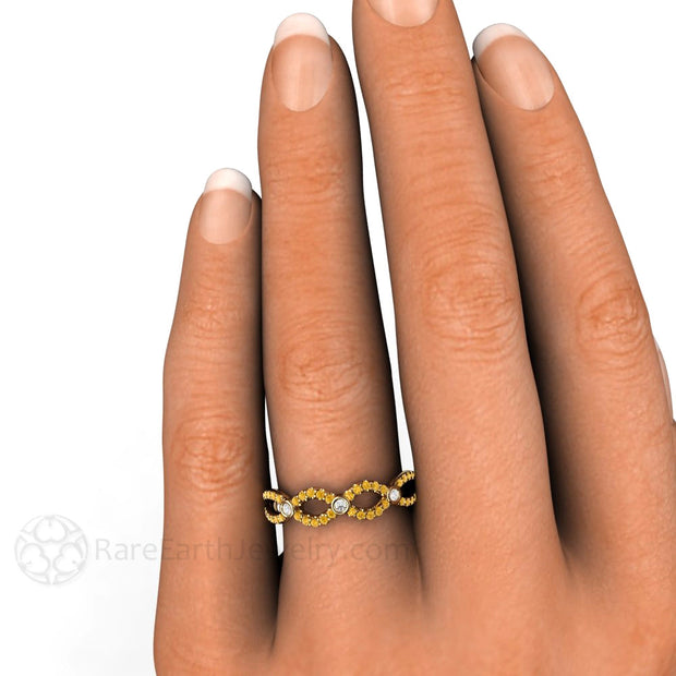 Yellow Diamond Infinity Ring on Finger Rare Earth Jewelry