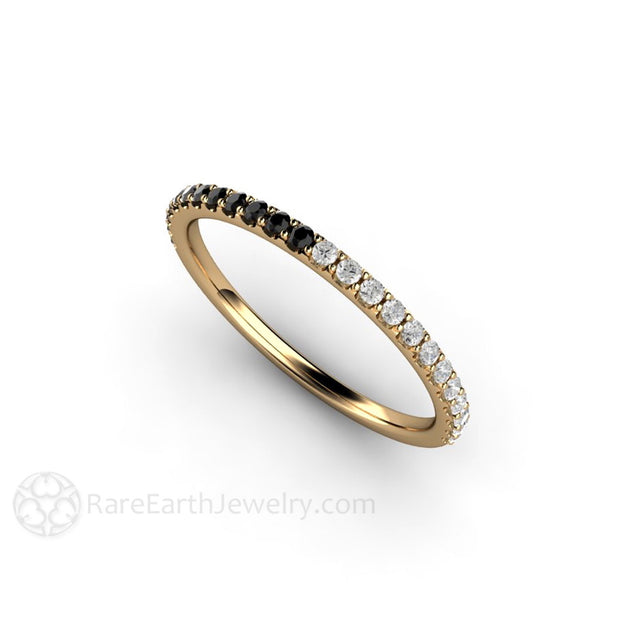 Rare Earth Jewelry White and Black Diamond Ring 14K or 18K Gold Unique April Birthstone Band