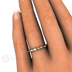 Yellow Gold Art Deco Style Wedding Ring on Finger Diamond Accents Rare Earth Jewelry