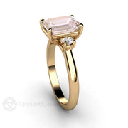 Rare Earth Jewelry Morganite Anniversary Ring 18K Yellow Gold Emerald Cut with Diamonds