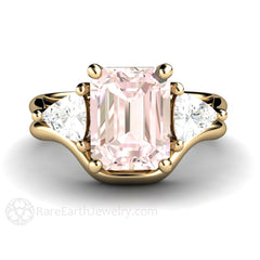 18K Gold Morganite Wedding Set White Sapphire Accents