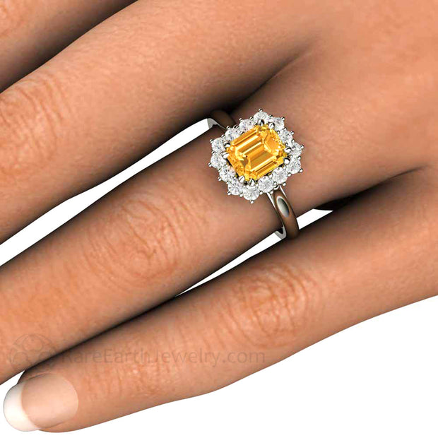 Vintage Style Orange Yellow Sapphire Halo Ring on Finger Rare Earth Jewelry