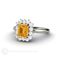 Orange Yellow Sapphire Ring with Diamonds Vintage Style Rare Earth Jewelry