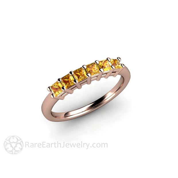 14K Rose Gold Yellow Sapphire Ring Princess Cut Rare Earth Jewelry