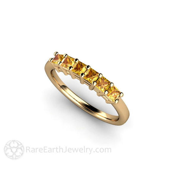 14K Princess Yellow Sapphire Wedding Ring Stackable Band Rare Earth Jewelry