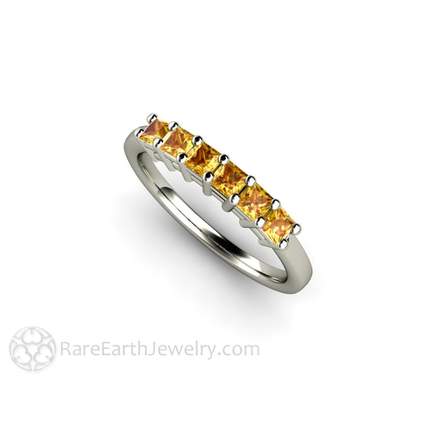 Princess Yellow Sapphire Stackable Ring 14K White Gold Rare Earth Jewelry