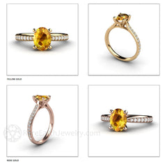 Rare Earth Jewelry Oval Yellow Sapphire Solitaire Ring 14K Gold or 18K Gold
