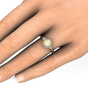 Lemon Yellow Sapphire Engagement Ring on Finger Rare Earth Jewelry