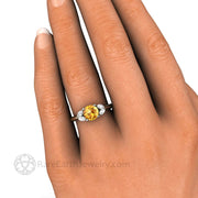 Yellow Sapphire Marquise Diamond Ring on Finger - Rare Earth Jewelry