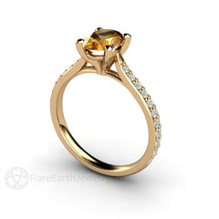 14K Yellow Sapphire Ring Oval Cut with Diamond Accent Stones Rare Earth Jewelry