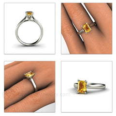Yellow Sapphire Solitaire Anniversary Ring 14K Gold Rare Earth Jewelry