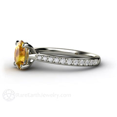 Oval Yellow Sapphire and Diamond Wedding Ring 14K Rare Earth Jewelry