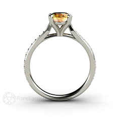 4 Prong Solitaire Yellow Sapphire and Diamond Ring 14K White Gold Rare Earth Jewelry
