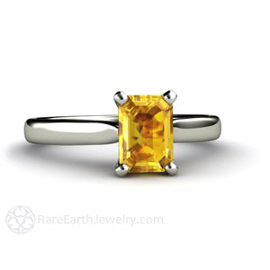 Rare Earth Jewelry Emerald Cut Yellow Sapphire Solitaire Ring