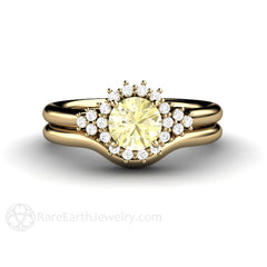 Yellow Sapphire Wedding Set Engagement Ring with Bridal Band Rare Earth Jewelry