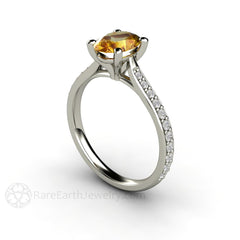 8x6mm Oval Solitaire Yellow Sapphire Engagement Ring Rare Earth Jewelry