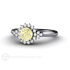Platinum Yellow Sapphire Anniversary Ring Rare Earth Jewelry
