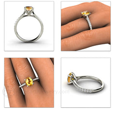 Oval Yellow Sapphire Ring Diamond Accented Band Rare Earth Jewelry