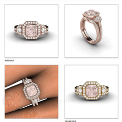 14K Asscher Cut Morganite 3 Stone Bridal Set with Diamond Accent Stones Rare Earth Jewelry