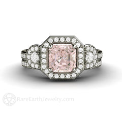 Morganite Asscher Halo 3 Stone Wedding Set with Diamond Band and Side Stones Rare Earth Jewelry