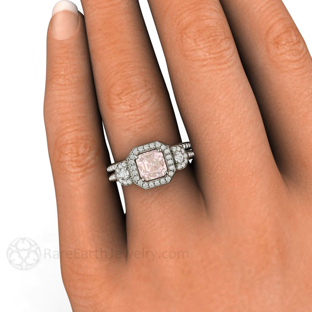 Rare Earth Jewelry Asscher Halo Morganite 3 Stone Wedding Ring Set on Finger
