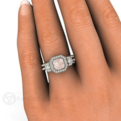Asscher Halo Morganite 3 Stone Wedding Ring Set on Finger Rare Earth Jewelry