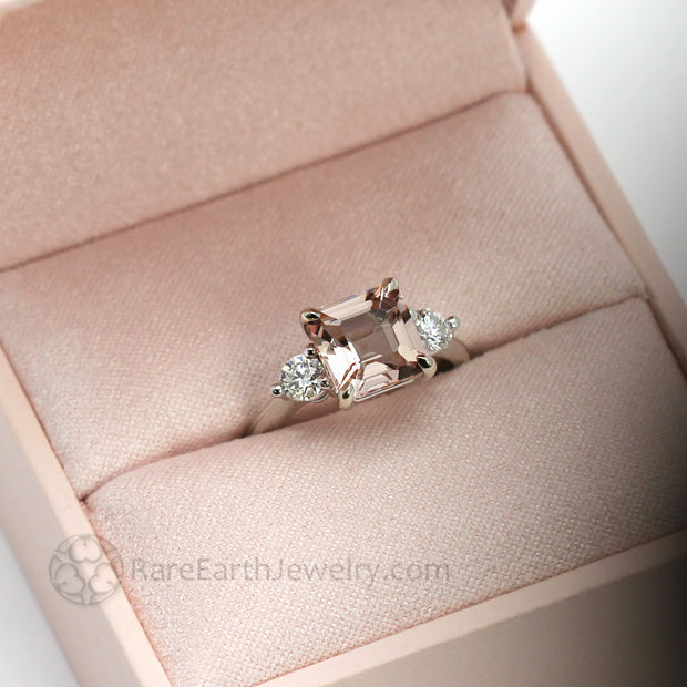 rareearthjewelry.com three stone engagement ring with pink morganite and diamond ring