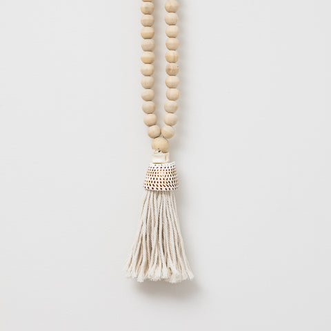 Beaded Tassel with Shell - Natural