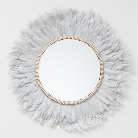 Dove Grey Feather Mirror