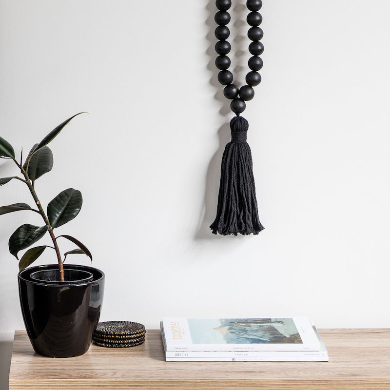 Black Beaded Necklace With Tassel - Large