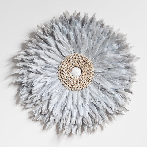 Juju Feather Wall Hanging - Dove Grey