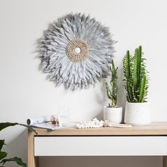 Tribal Feather Wall Hanging - Dove Grey
