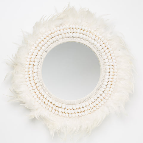 Tribal Feather Mirror - White
