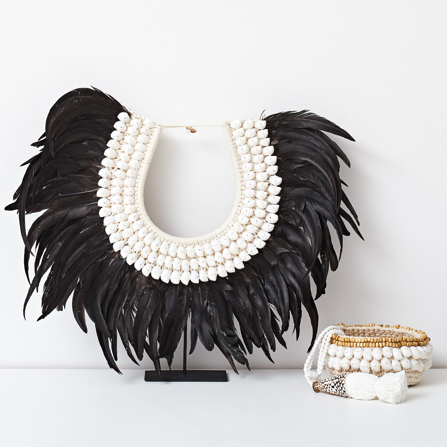Tribal Feather Necklace - Black