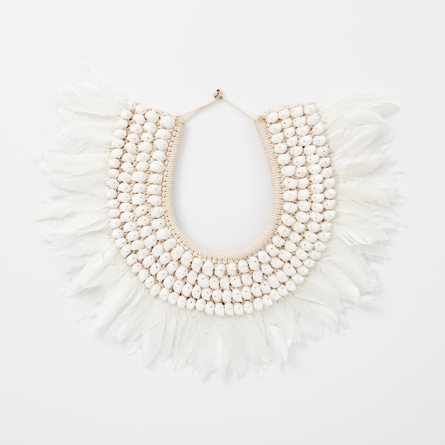 Tribal Feather Necklace - White