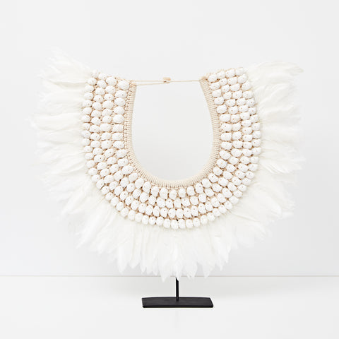 White Beaded Necklace With Tassel - Large