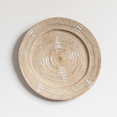 White Washed Rattan Wall Hanging