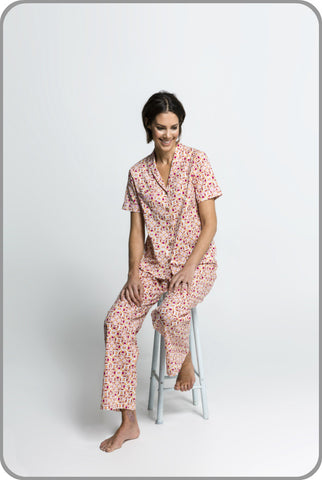 Women's Organic Cotton Pyjamas - Clara Classic Top with Pants Set